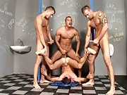 The triplets having fun with glory hole & an handsome gay!