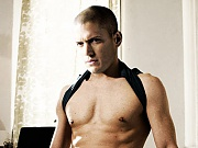 Wentworth Miller busts a load of cum after jacking off to gay porn mags