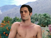 Penn Badgley jacks off a thick, hairless cock and cums on his chest in hardcore male pics