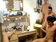 2 hot college dudes get fooled into fucking eachother by a super hot chick at this dorm room party