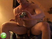 Guy lubes up dick for private gay jerkoff vid!