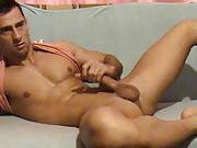 Sexy muscle stud jerking his fat cock.