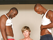 Gay white surfer sucks & fucks 2 black dicks
