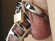 Keep your man securely locked and under your control with this steel chastity cock cage.